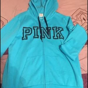 Pink hoodie.  Blue. Size large
